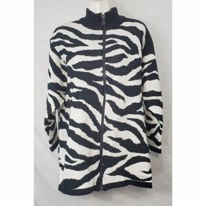 Diane VonFustenberg Zebra Knit Zippered Cardigan